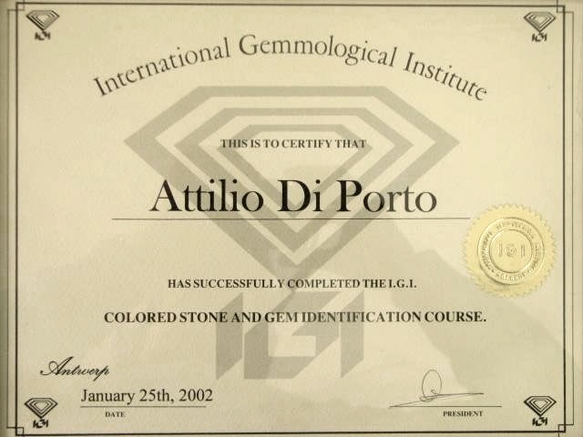 International Gemmological Institute Colored Stone and Gem Identification Certificate